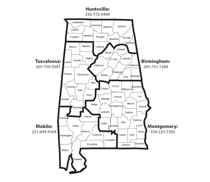 Map of Alabama Offices